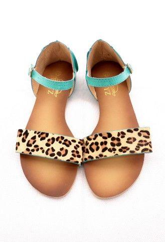 Leopard Print Sandals with Aqua Straps