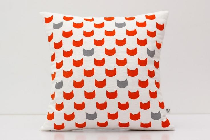 Cushion cover - ginger cats grey - screen printed and handmade. $45.00, via Etsy.