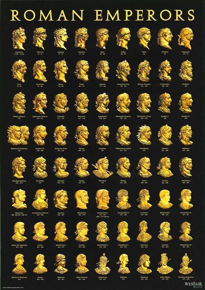 """Emperors of Rome from Augustus (31 BC - AD 14) through Romulus """"Augustulus"""" (deposed AD 476)"""