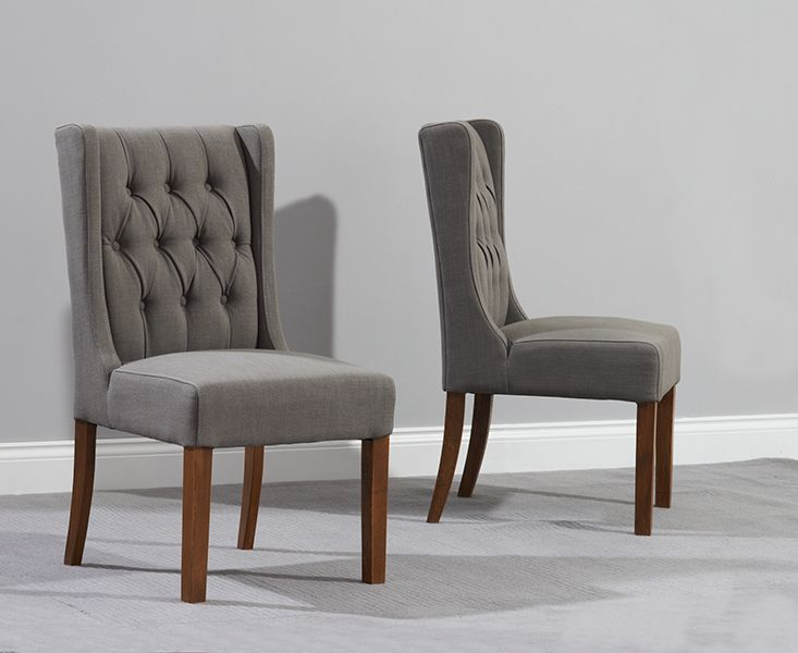 Buy the Safia Grey Fabric Dark Oak Leg Dining Chairs  at Oak Furniture Superstore