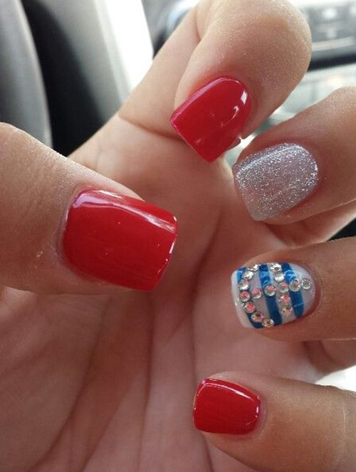 96 best nails red white and blue images on pinterest make up red white and sliver glitter with blue strips and a jewel anchor nail art design prinsesfo Gallery