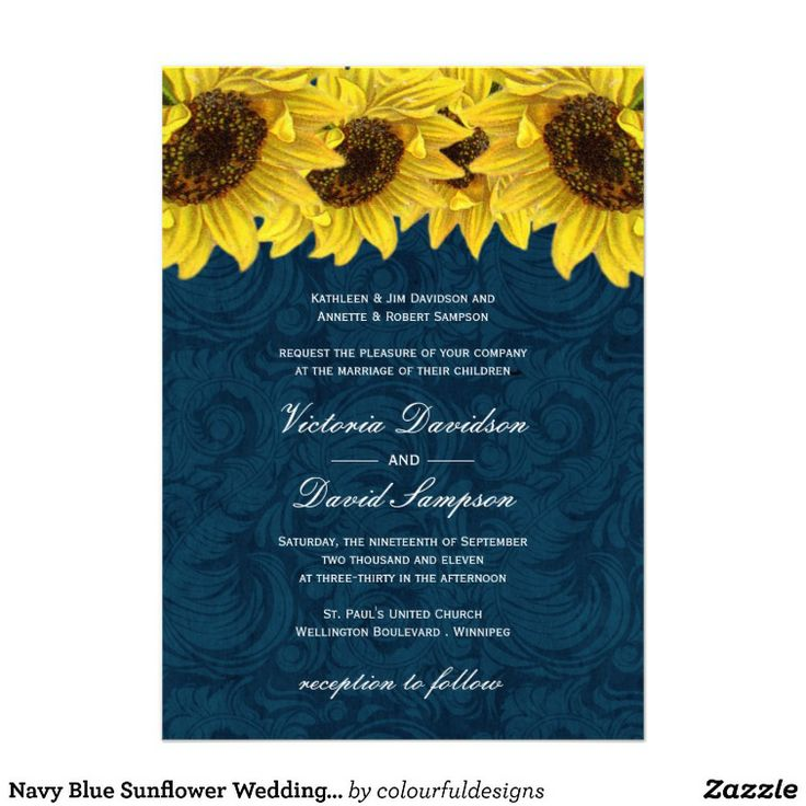 Navy Blue Sunflower Wedding Invitation – Wedding Invitations Sunflower