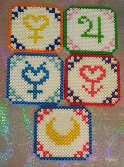 Sailor Moon Inner Senshi Perler Bead Coasters Set by Platitudinous