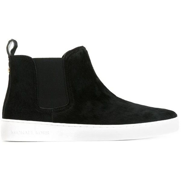 MICHAEL MICHAEL KORS 'Keaton' sneakers (17.680 RUB) ❤ liked on Polyvore featuring shoes, sneakers, leather wedge shoes, leather shoes, wedge sneakers, black leather shoes and black leather sneakers