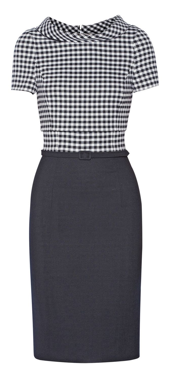 Gingham pencil dress - love this Mad Men look