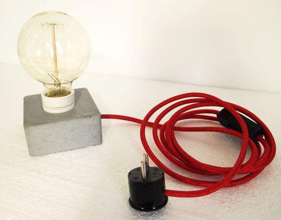 Lámpara de hormigón bloque Q por Blockmono en Etsy