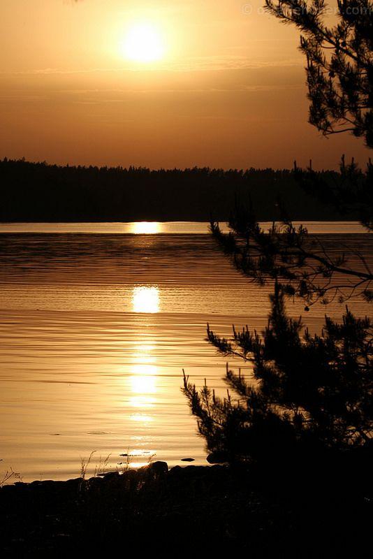 Sun goes down over Parainen, Finland.