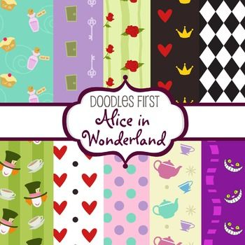 "Digital Paper - Alice in Wonderland great for Classroom art projectsSize: 12""x12""File Format: JPG at 300dpiIncludes 10 papersTerms of Use: All free and paid clip arts graphics or digital papers may be used for personal and/or commercial use, in the following ways: Classroom Printables, Party Printables; Cards and Invitations; Classroom Crafts; Lesson Plans; Scrapbooking, Photography, Stickers; T-shirt Prints; Vinyl Cutting or Decals; Embroidery and more.No additional licenses are required…"