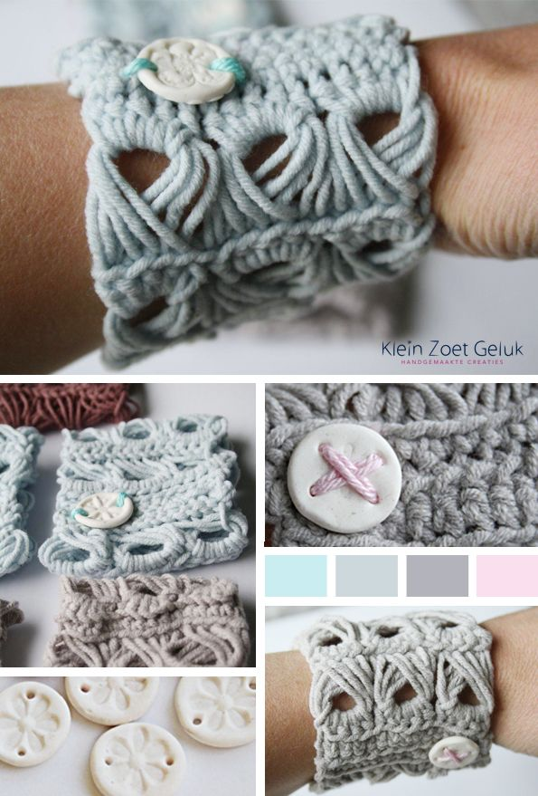 Klein Zoet Geluk: Gehaakte armband met bezemsteel steek http://kleinzoetgeluk.blogspot.nl/2011/12/gehaakte-armband.html