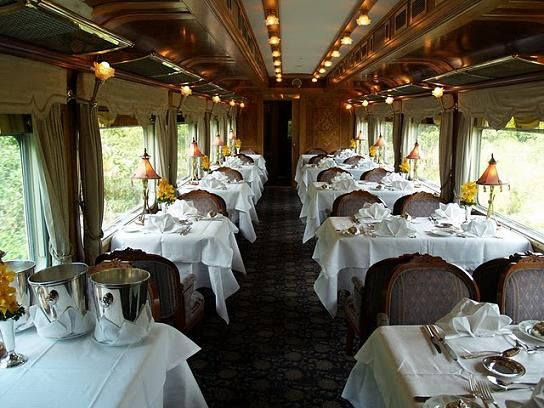 The elegant dining room on the Eastern and Oriental Express