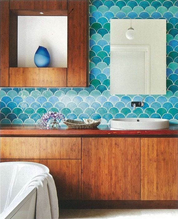 Hand-glazed scalloped tiles makes a big impact in this eco-friendly bathroom by Camilla Molders Design. | Read more on http://inside-living.com.au/lookbook-bright-and-bold-eco-friendly-bathroom-by-camilla-molders-design/