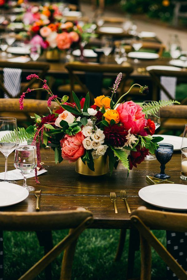 Colorful centerpiece for a botanical affair | Image by Hannah Costello