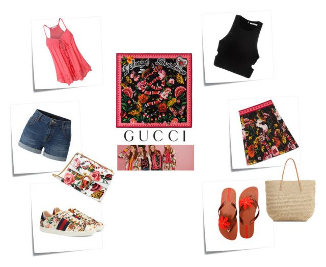 Presenting the Gucci Garden Exclusive Collection: Contest Entry by nefertiti001 on Polyvore featuring T By Alexander Wang, Gucci, LE3NO, IPANEMA, Target, Post-It and gucci
