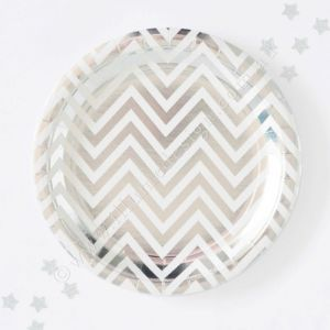 Let's Party With Balloons - Illume Design Silver Chevron Snack Plates, $12.00 (http://www.letspartywithballoons.com.au/illume-design-silver-chevron-snack-plates/?page_context=category