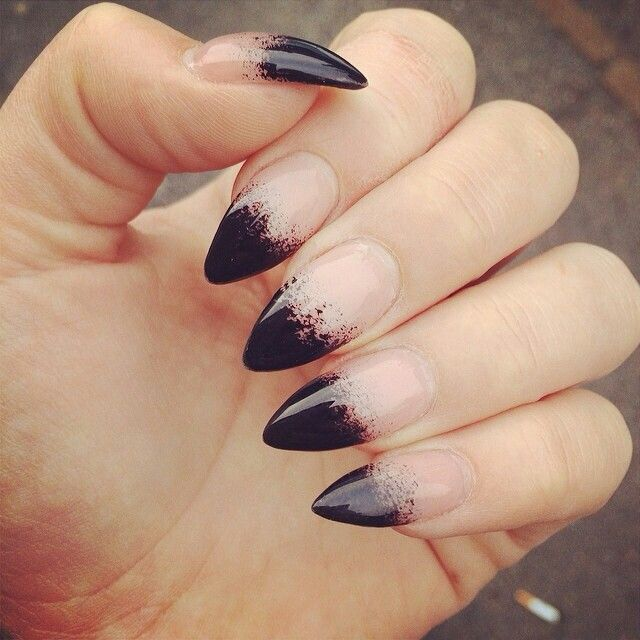 .black tipped almond nails
