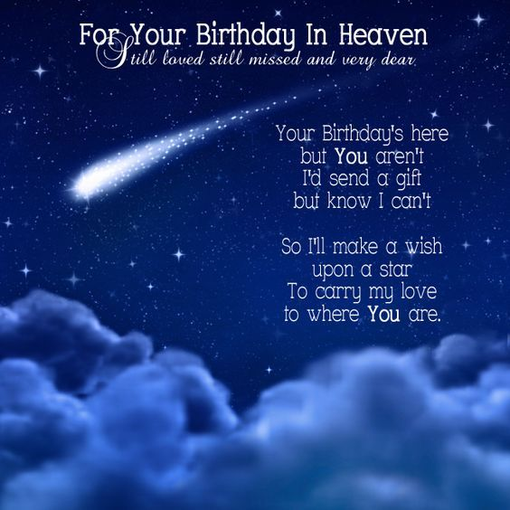 For Your Birthday In Heaven - Still loved still missed and very dear - Your Birthday's here but You aren't I'd send a gift but know I can't So I'll make a wish upon a star To carry my love to where You are: