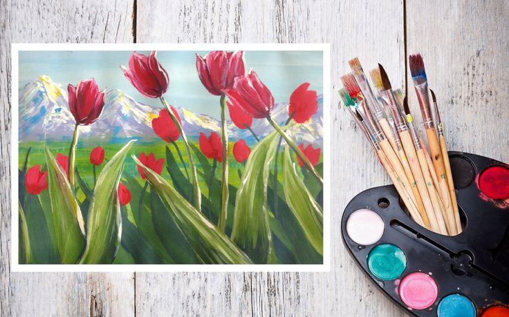 Рисуем цветы гуашью