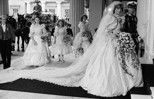 The Fairy tale wedding of the century,   Prince Charles and Princess Diana arriving at Buckingham Palace to celebrate their marriage.