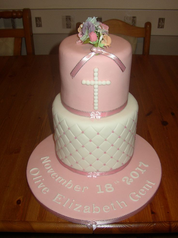 christening cake two tier pink flowers
