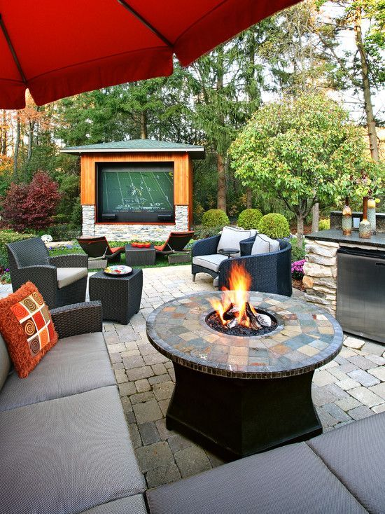 Outdoor Covered Patio With Fireplace Great Addition Idea Dream Dream Dream: Wonderful Backyard With A Fire Pit And TV!