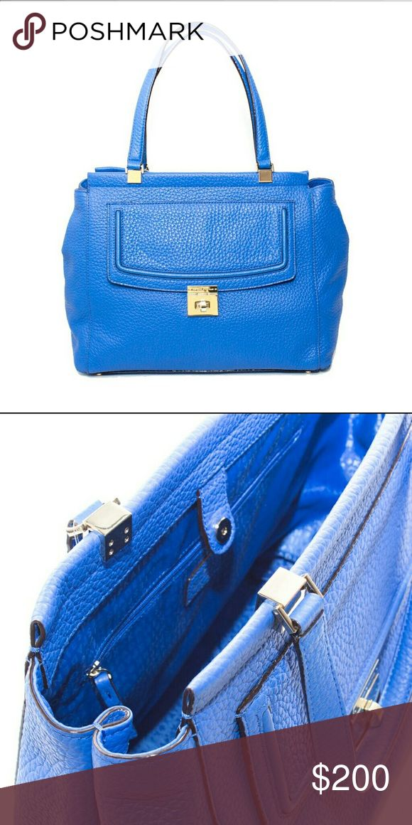 """Kate Spade Everett Way Thatcher Handbag More pictures to come! Brand new, never used.  Bright blue: color called """"Island Deep."""" From Kate Spade outlet collection Everett Way. Large tote-like handbag. Front pocket with latch. 14k gold hardware/light gold so if you wear silver, it will match your accessories just as if you wear gold, it will do the same. kate spade Bags Totes"""