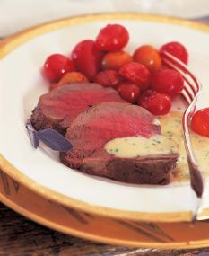 Barefoot Contessa Beef Tenderloin Filet quick-roasted in the oven at 500 degrees for 22 minutes (when I'm in a hurry)