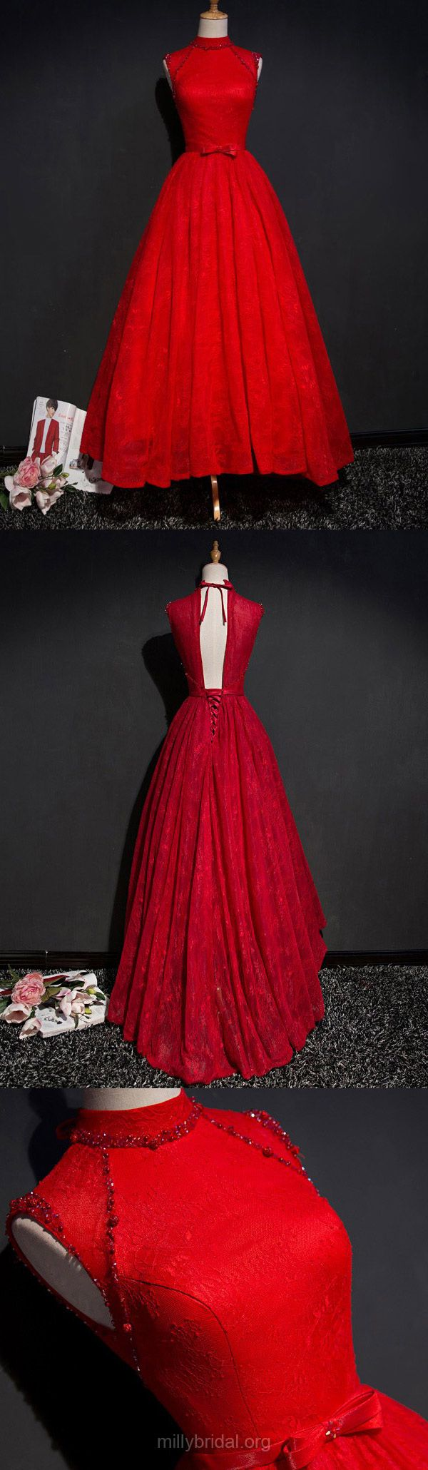 Red Prom Dresses Ball Gown,Long Prom Gowns High Neck, Lace Party Dresses Asymmetrical,Sashes / Ribbons Modest Prom Dresses Unique