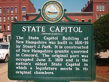 The New Hampshire State House, designed by architect Stuart Park and constructed between 1815 and 1818, is the oldest state house in which the legislature meets in its original chambers.[citation needed] The building was remodeled in 1866, and the third story and west wing were added in 1910