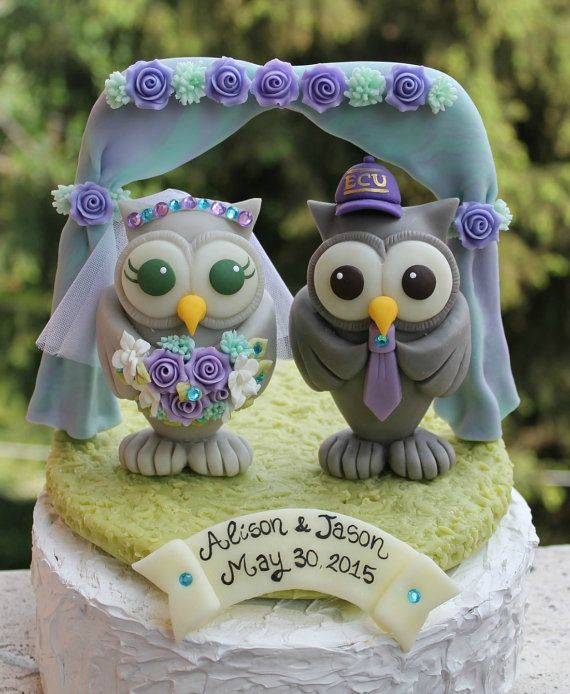 My best selling owl cake topper in a bigger version, with owls more than 4 tall!  Owl cake topper with chuppah and grass base, so full of details