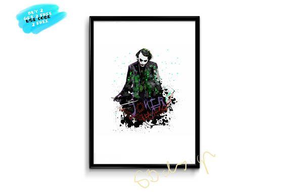 Joker Poster Batman Watercolor Joker Print Watercolor Joker