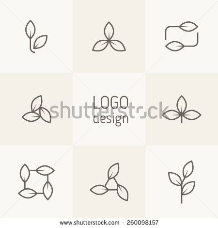 Vector set of natural logo design. Simple linear floral elements. Stylized leaves form modern logotypes with eco and bio direction. Contemporary graphic design. Minimalist linear style.