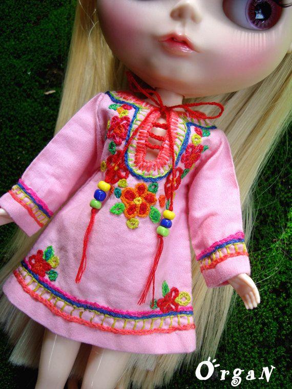 OOAK Little India ART Tunic Light Pink DRESSwith hand by organ111, $18.50