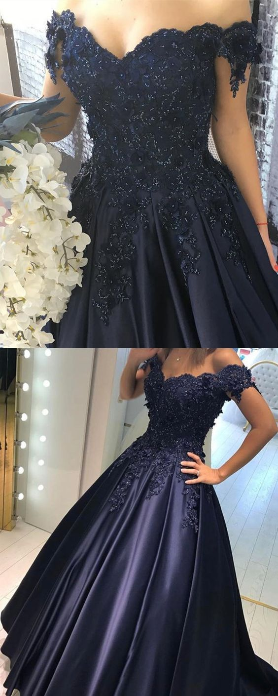 Navy blue lace flower off the shoulder satin prom dresses ball gowns