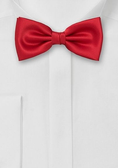 Solid Bright Red Men's Bow Tie