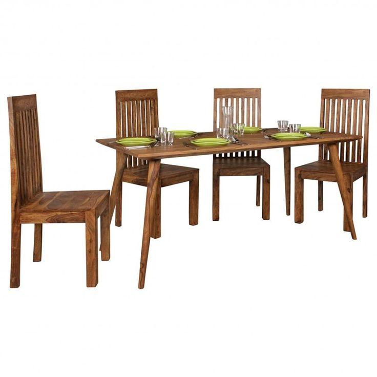 Esszimmertisch REPA 160 x 80 x 76 cm Sheesham rustikal Massiv-Holz | Design Landhaus Esstisch | Tisch für Esszimmer groß | 6 – 8 Personen
