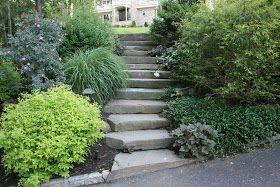 heirloom gardener: Front Yard Gardening Design Challenge: Five Ideas for the Downward Sloping Front Yard Garden