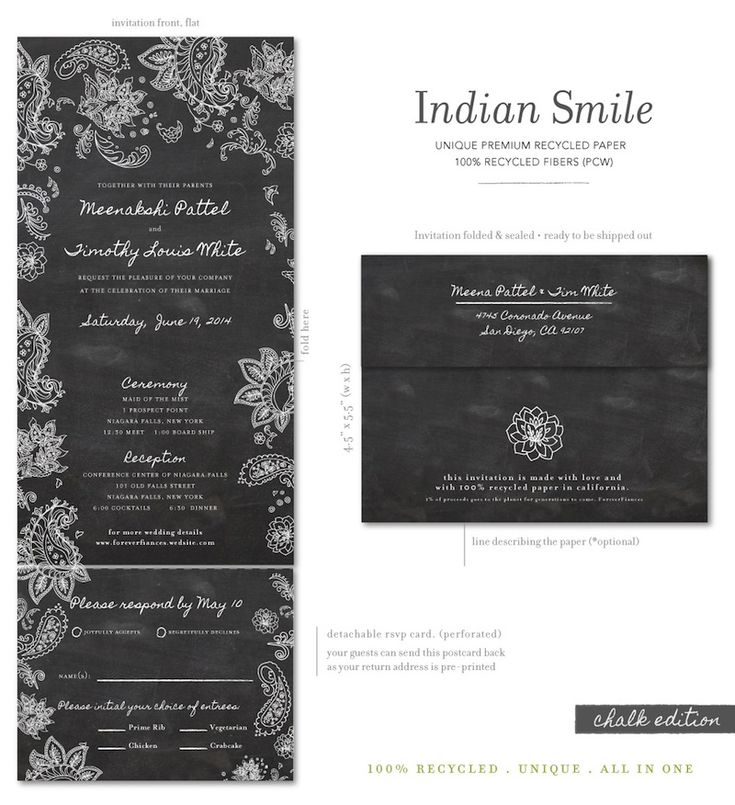 Chalkboard Indian wedding invitations