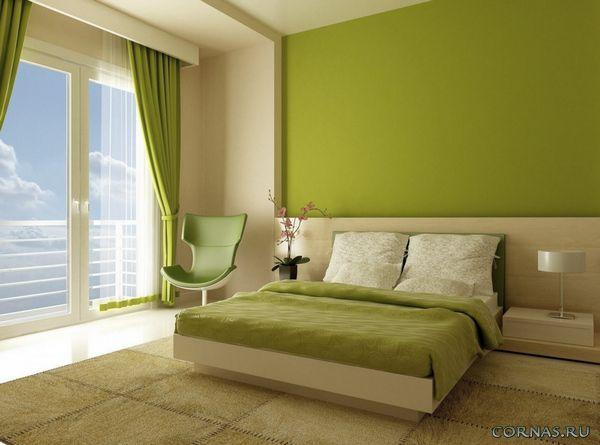 Дизайн зеленая спальня