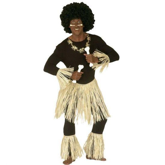 Inboorling zulu set. Deze originele inboorling zulu set bestaat uit de zulu rok van plastic, been versiersel en arm versiersels. Goed te combineren met bijvoorbeeld een strakke zwarte broek en zwart shirt. Perfect om in de inheemse of bijvoorbeeld Hawaii sfeer te komen!
