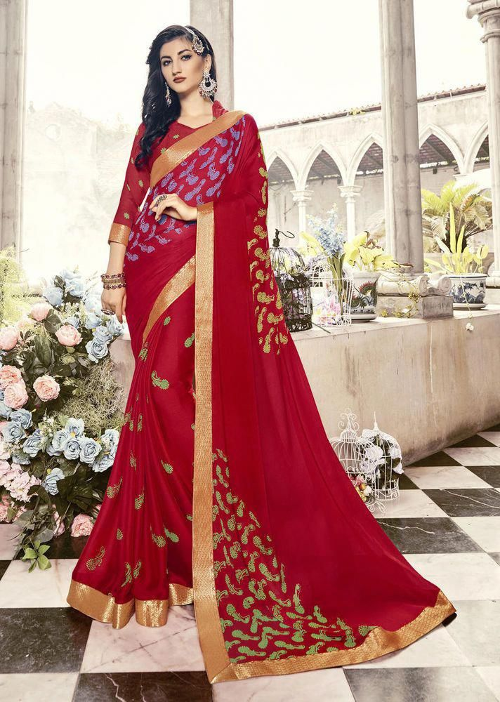 6b0f8b256f Indian Ethnic Designer Chiffon Party Wear Printed Saree Wedding Casual Sari  SS #Sareeswag #DigitalPrintBorderSaree #weddingsarees