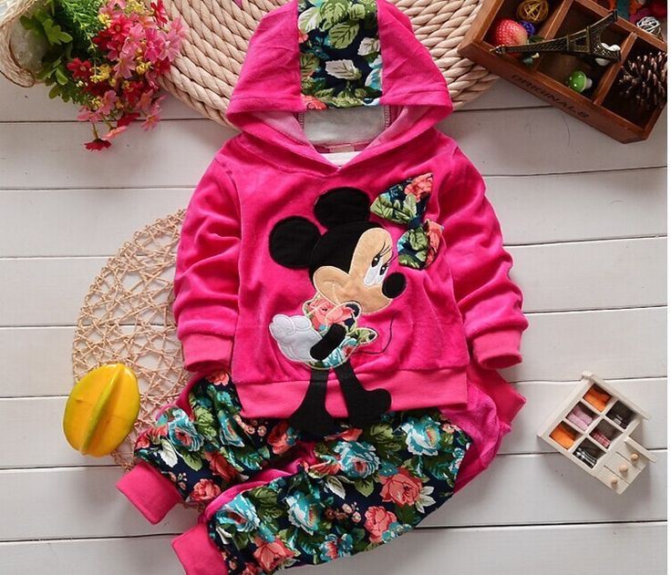 2016 New Autumn Fashion Kids clothes Cartoon Design Minnie Cotton Hooded Full Sleeve baby Clothing Set babi Suit-in Clothing Sets from Mother & Kids on Aliexpress.com | Alibaba Group