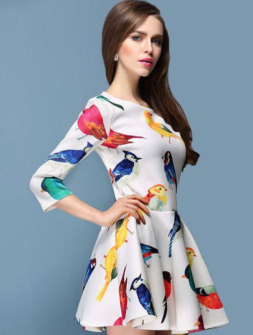 Women Chic Sweet Animal Pattern Black White Dress - Lalalilo.com Shopping - The Best Deals on Women's Dresses