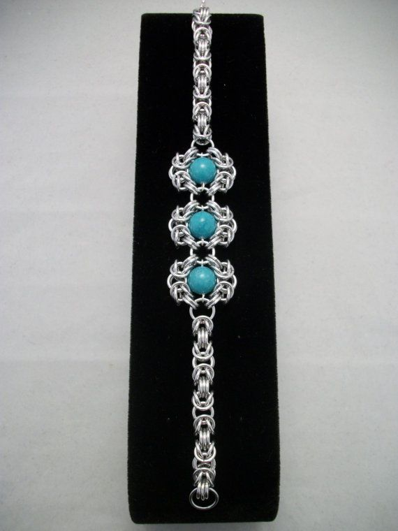 Romanov Chainmaille Bracelet with Aqua Blue Green Mountain Jade