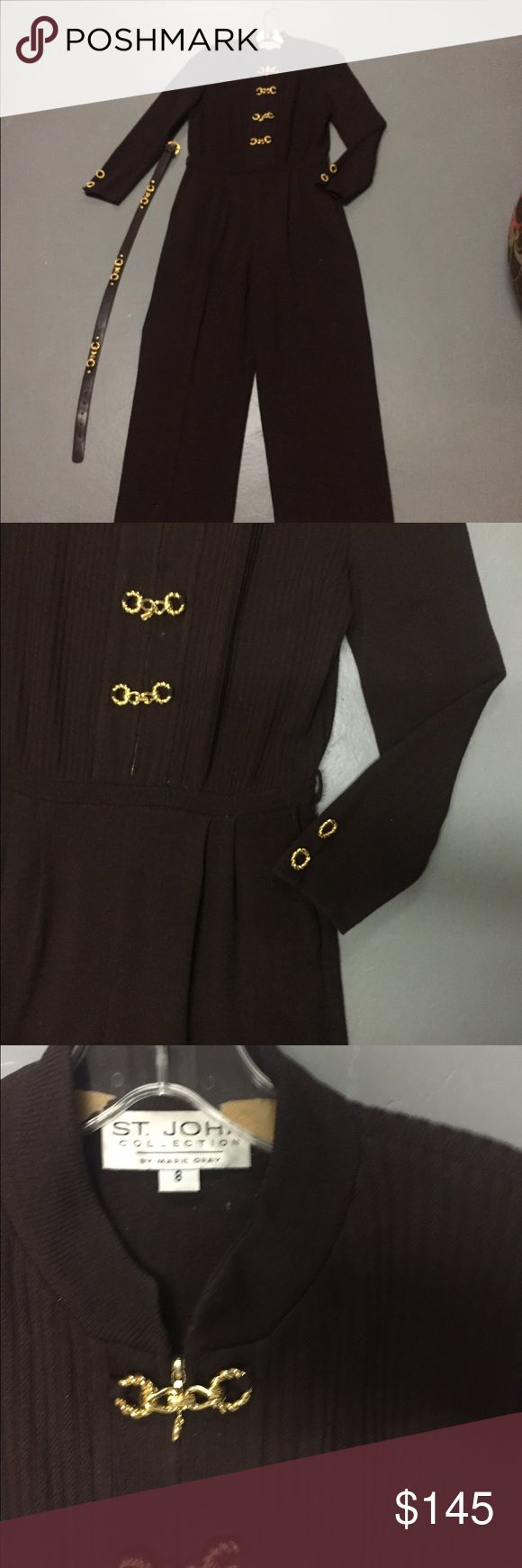 St John Collection Brown One Piece W/ Belt Adorable St. John collection Marie gray brown one piece very pretty on comes with matching Belt St. John Dresses