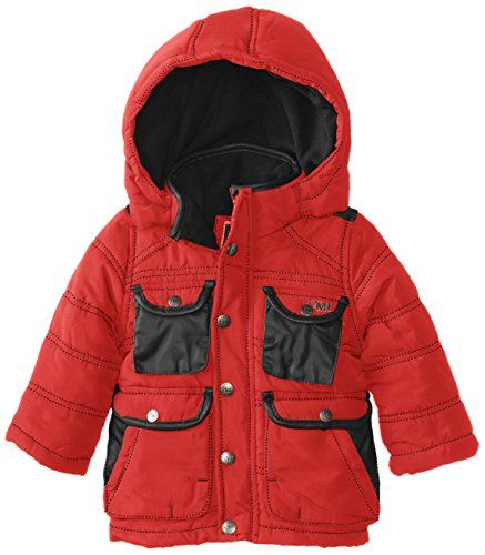 YMI Baby Boys Hooded Jacket Bubble with Contrasting Pleather Pocket and Collar Trim Red 12 Months -- Click on the image for additional details.Note:It is affiliate link to Amazon.