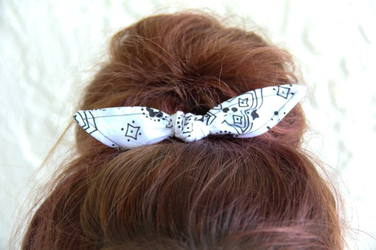 Knotted Bun Clip Hair Bows White Bandana Hair Bow Girl Teen Women Hair Accessory French Barrette Alligator Clip Hair Ties by Lorettajos on Etsy
