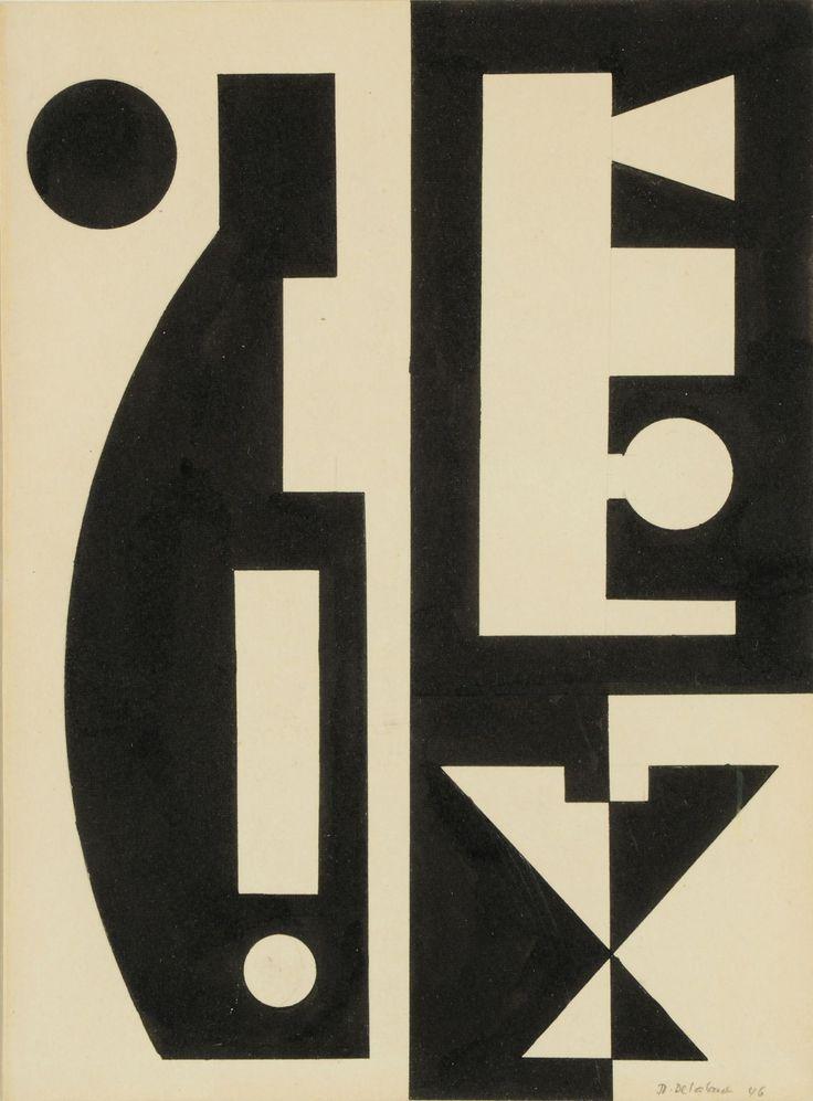 Fig. 8 – Jo Delahaut. Sans titre (1946). Encre de Chine sur papier, 25 x 19 cm. Collection privée.