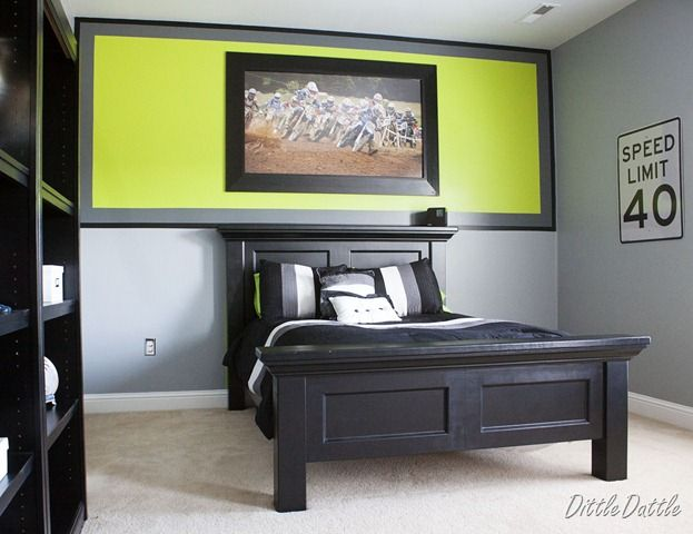 Nice Bedroom, Neutral Paint Ideas For Boys Room With Black Bed Frame And Bedding  Also Green