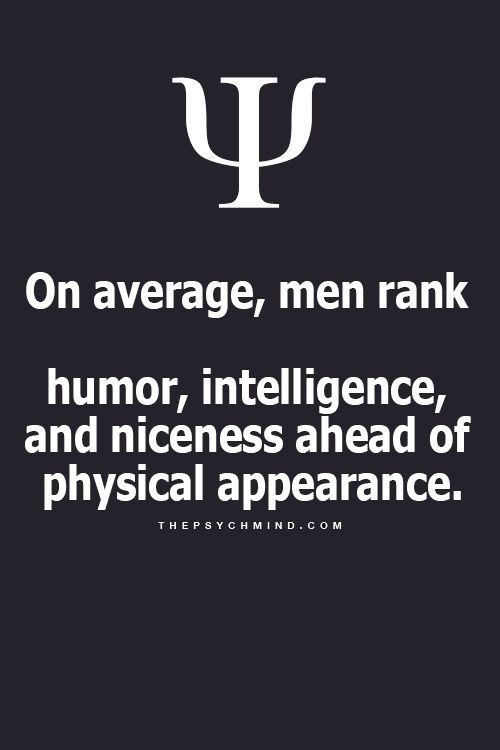 Really? On average, men rank humor, intelligence, and niceness ahead of physical appearance.