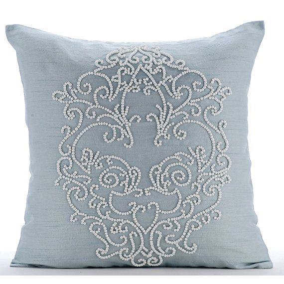 Decorative Throw Pillow Covers Accent Pillow Couch Toss Sofa Pillow 16x16 Light Blue Silk Pillow Cover White Bead Embroidered French Wedding